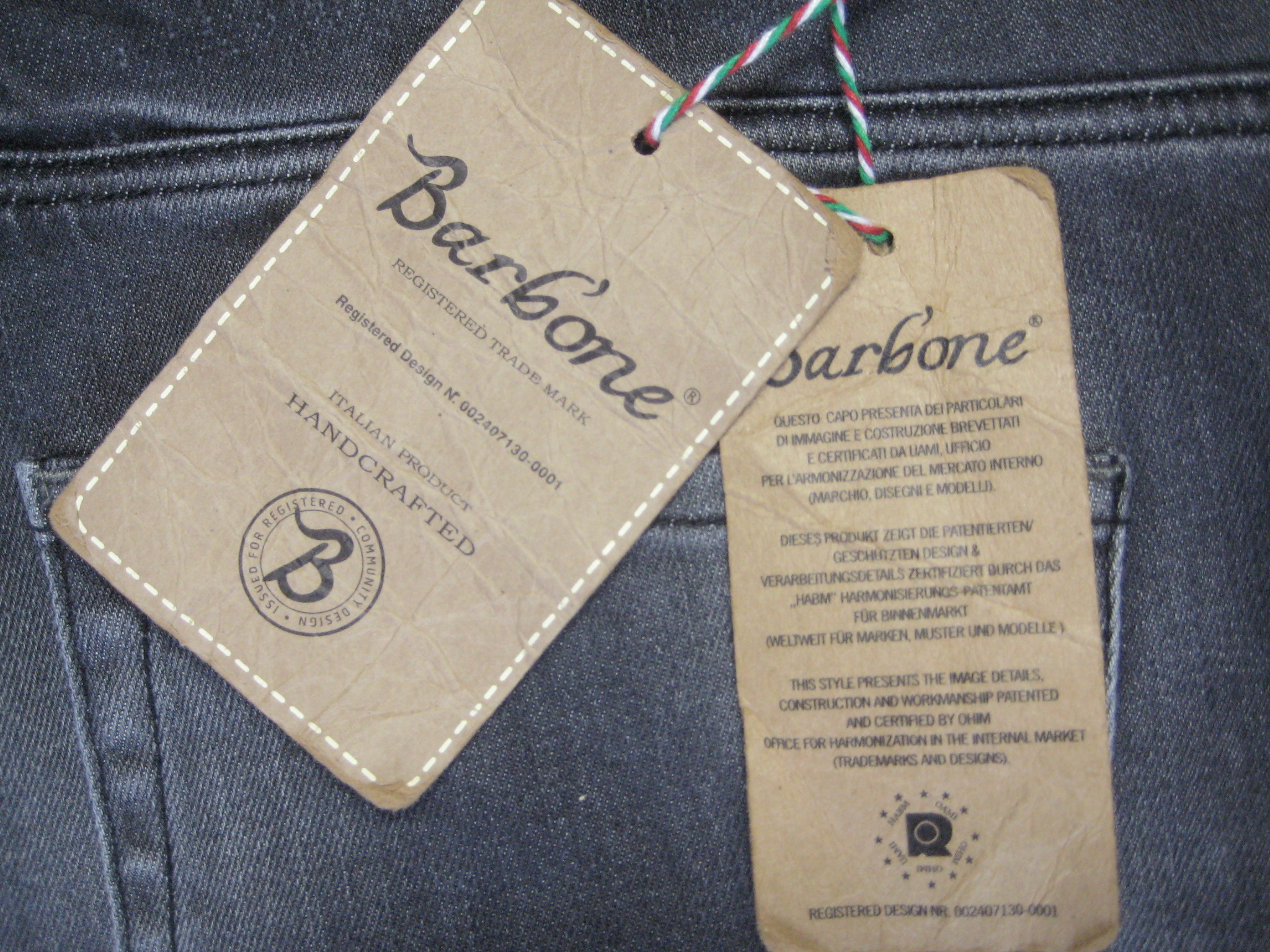 Barb´One by Lucky de Luca Designer Herren Jeans Sly 5 Pocket Denim Schwarz Grau Stretch