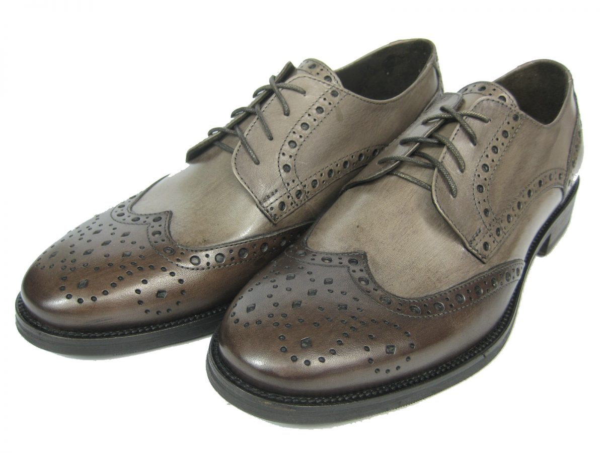 GIORGIO SCARPE Herren Derby Budapester Leder Schuh GM13 rahmengenäht mokka & hellbraun