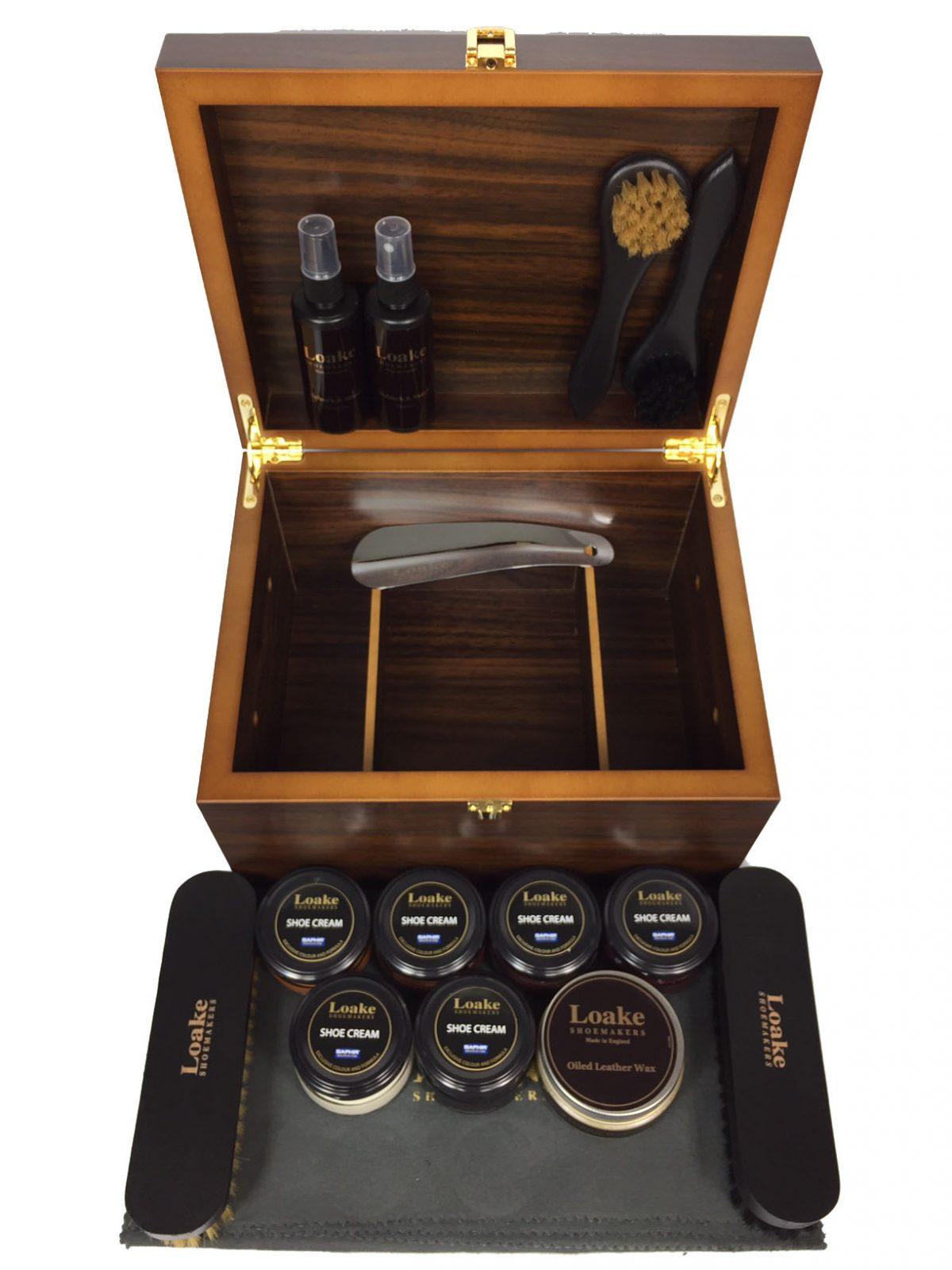 size 40 fe291 6db82 Loake Schuhe Valet edle Luxus Schuhpflege Holz Box Schuhputzkasten Set 16  Teile